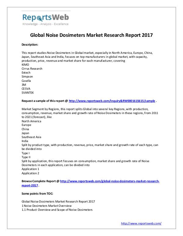 Market Analysis Noise Dosimeters Market - Global Research Report