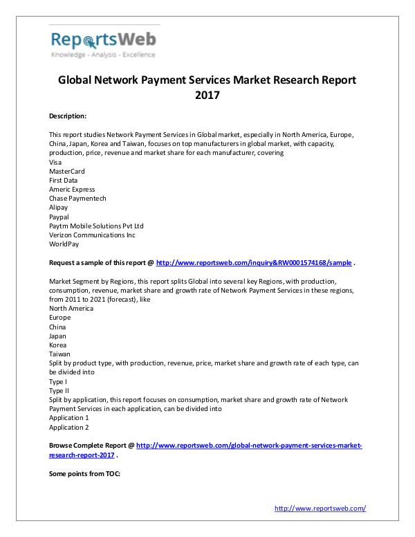 Market Analysis 2017 Global Network Payment Services Market