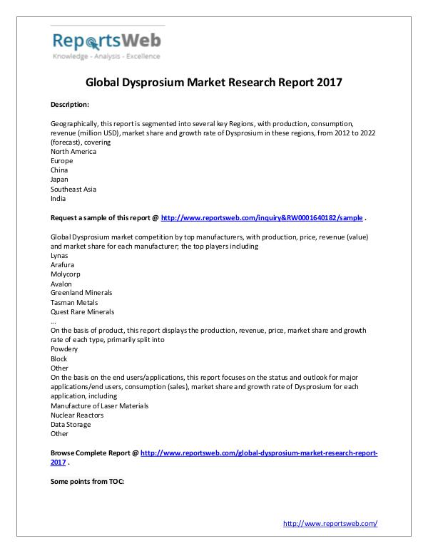 Market Analysis Dysprosium Market – Worldwide Manufacturers Study