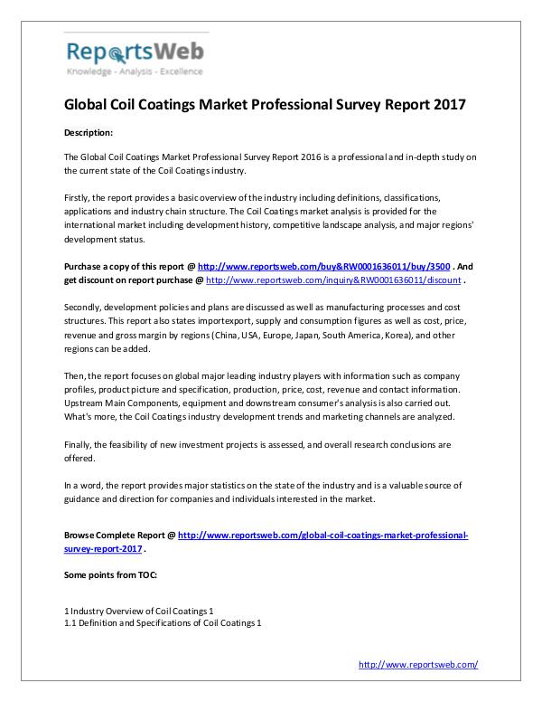 Market Analysis 2017 Coil Coatings Market Professional Survey
