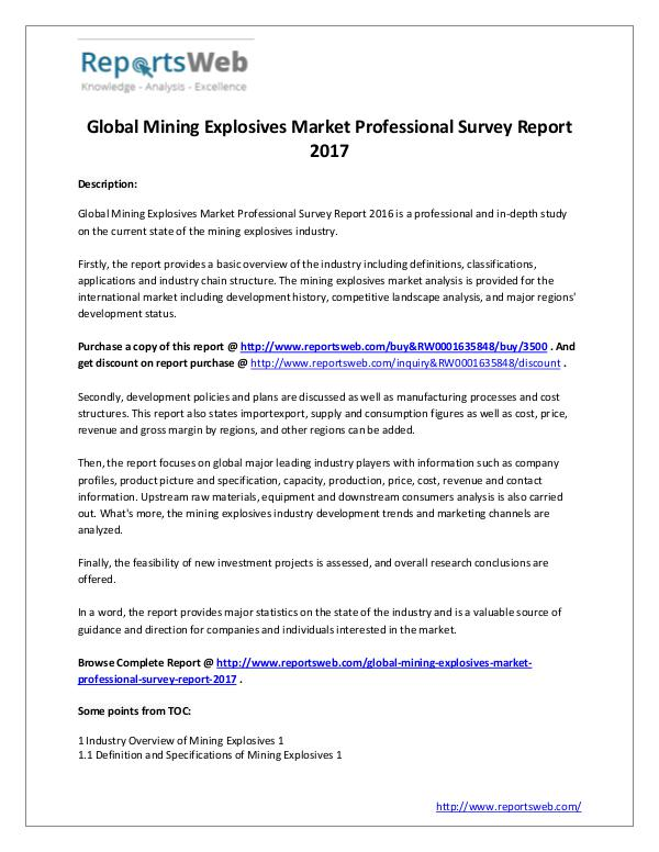 Market Analysis Mining Explosives Market Professional Survey