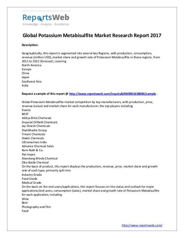 Market Analysis Global Potassium Metabisulfite Industry 2017