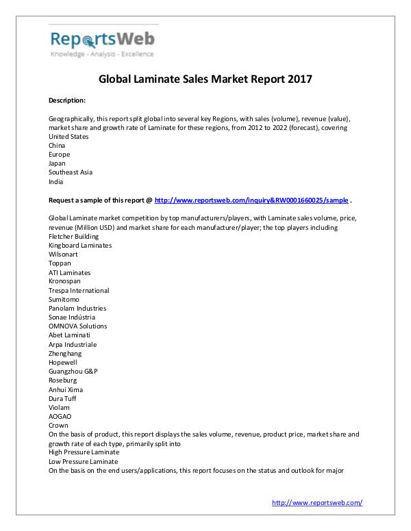 Market Analysis New Report : Global Laminate Sales Industry