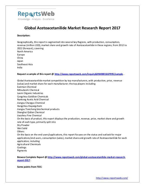 Market Analysis New Study: 2017 Global Acetoacetanilide Market
