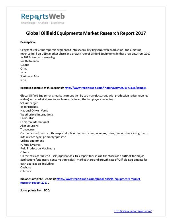 Market Analysis New Study: 2017 Global Oilfield Equipments Market