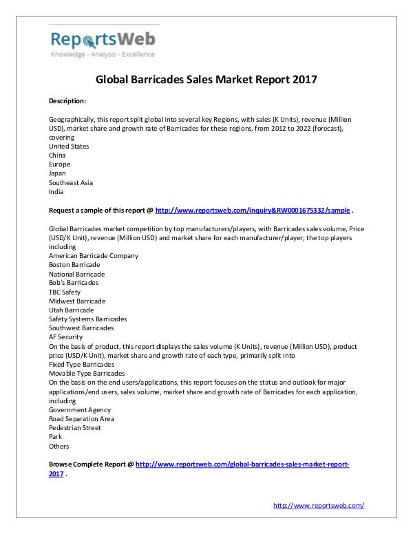 Market Analysis 2017 Global Barricades Sales Market