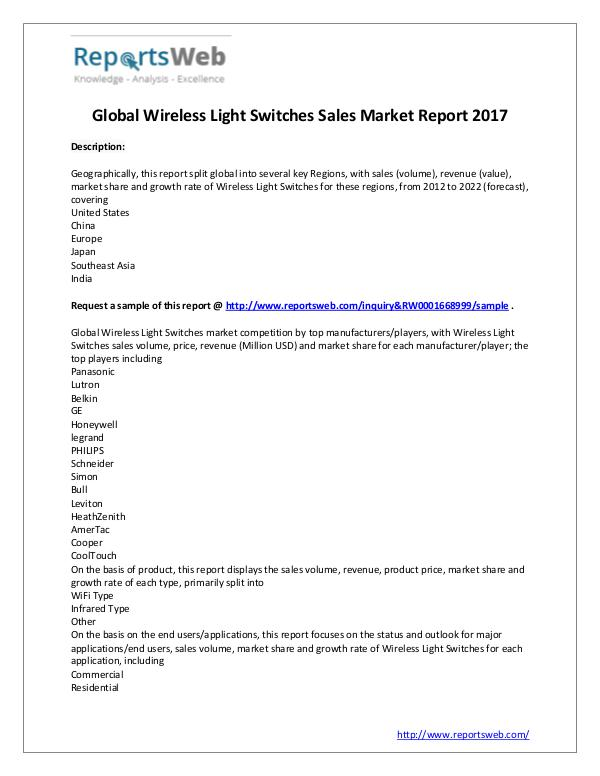 Market Analysis 2017-2022 Wireless Light Switches Sales Industry
