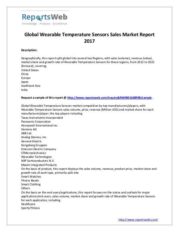 Market Analysis 2022 Wearable Temperature Sensors Sales Market