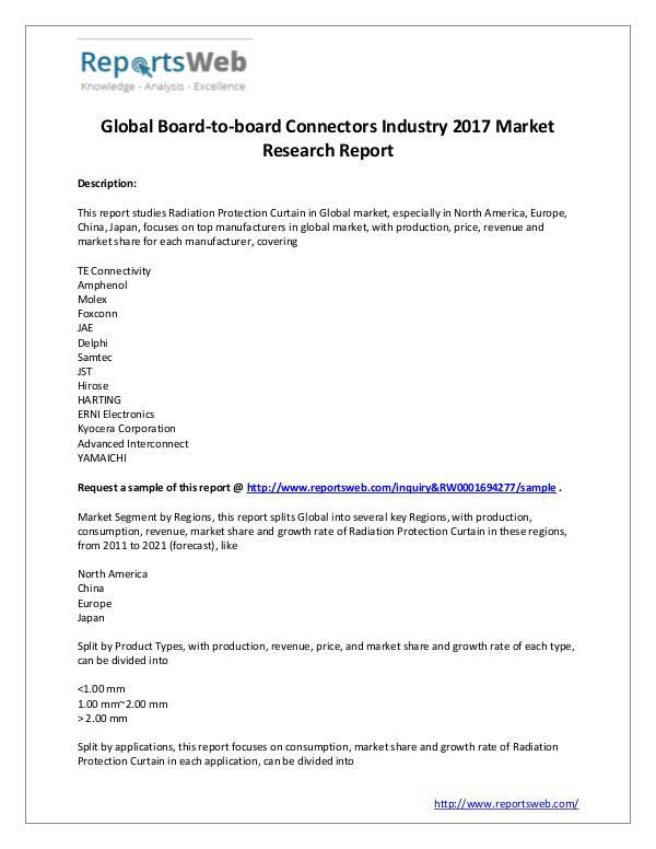 Market Analysis 2017 Global Board-to-board Connectors Market