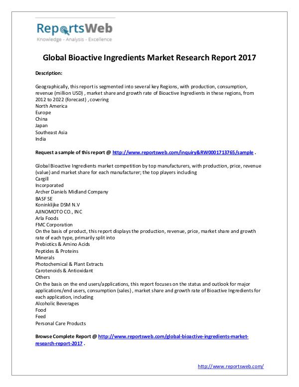 bioactive ingredients product market forecast Bioactive ingredients & product market by ingredient (probiotics, proteins, plant extracts, minerals, vitamins, fibers, carotenoids), by product (functional foods, & beverage, dietary supplements, animal nutrition, personal care) - global trends & forecast to 2018 is a market research report available at us $5650 for a single user.