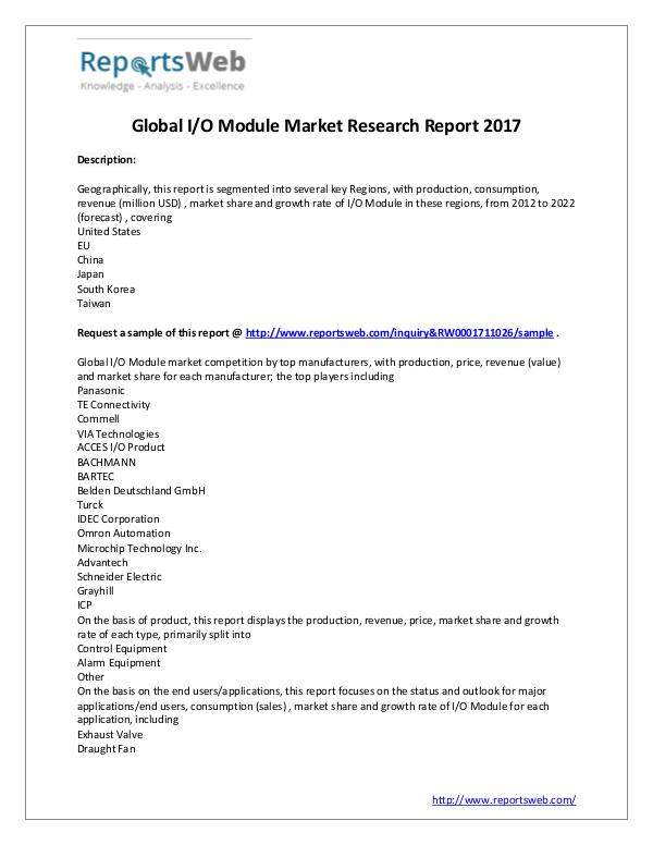 Market Analysis Global I/O Module Industry Report 2017
