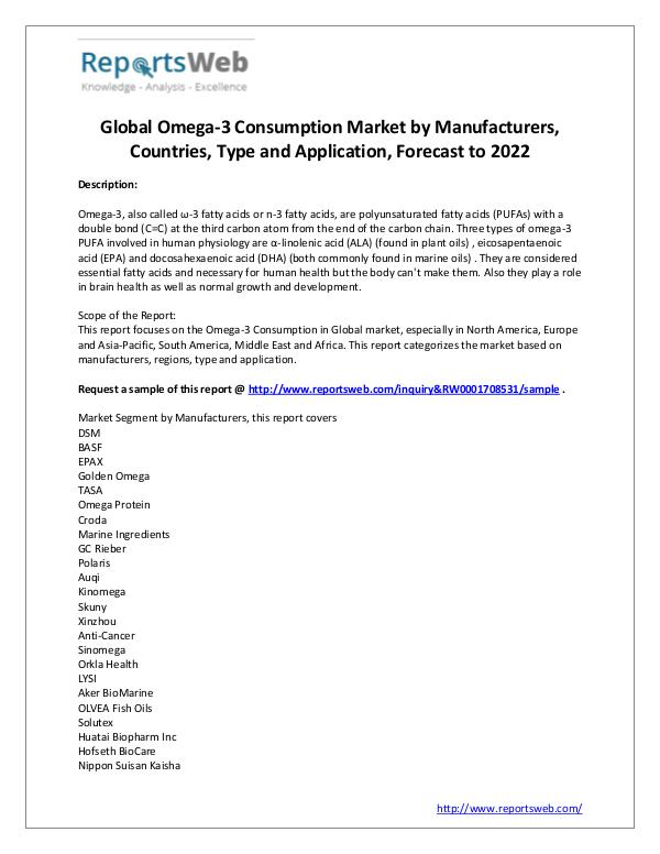 Market Analysis Global Omega-3 Consumption Industry 2017-2022