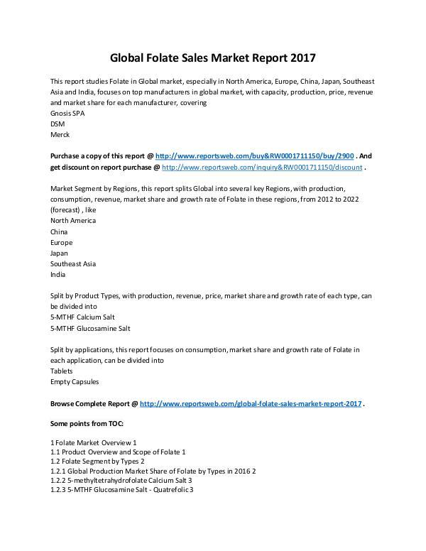 Market Analysis 2017-2022 Folate Sales Market