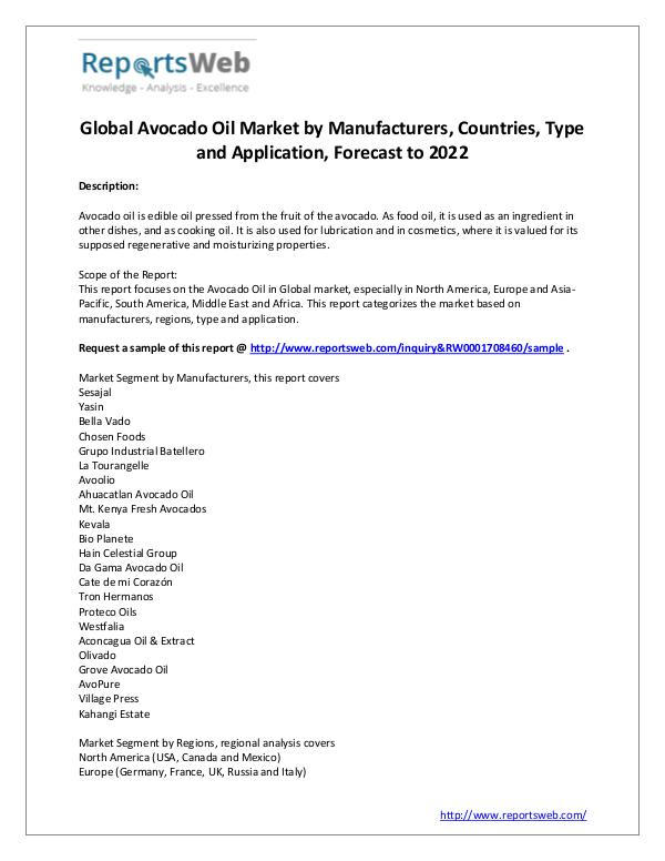 Market Analysis 2017 Analysis: Avocado Oil Market Report