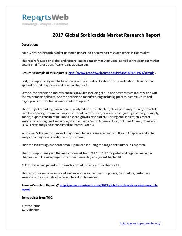 Market Analysis 2017 Sorbicacids Market Study & 2022 Forecast