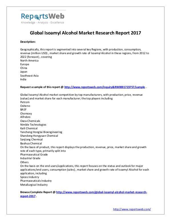 Market Analysis Isoamyl Alcohol Market - Global Trends Study