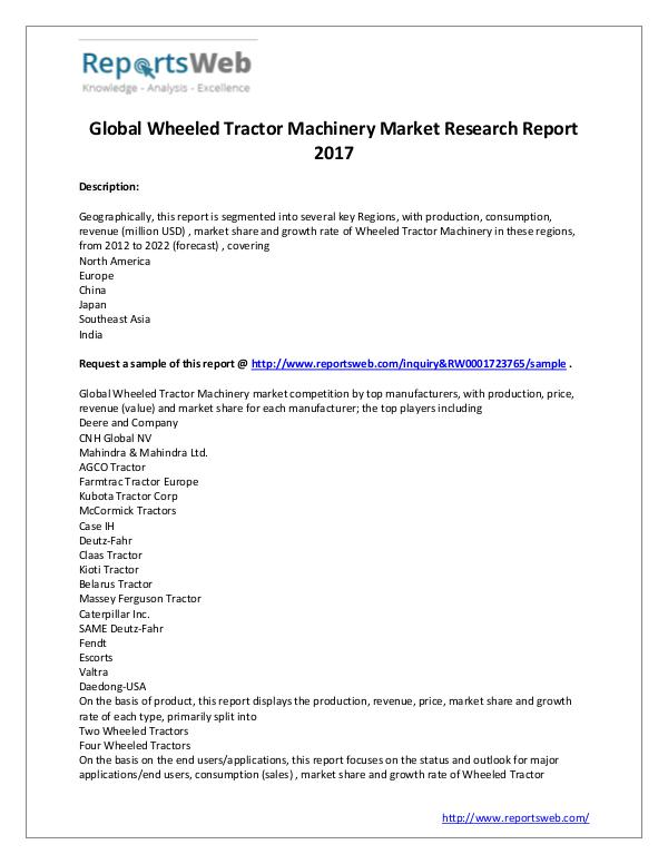 Market Analysis Wheeled Tractor Machinery Market - Global Trends