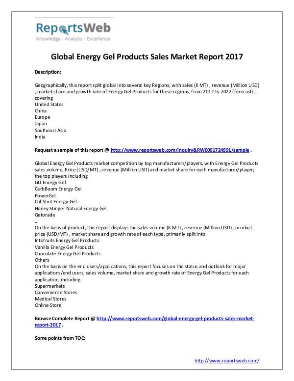 2017 Global Energy Gel Products Sales Market