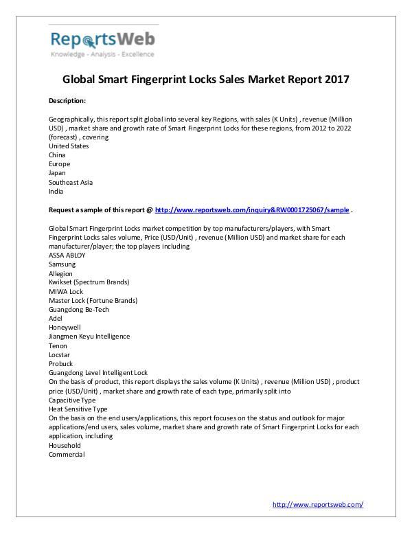 2017 Global Smart Fingerprint Locks Sales Market