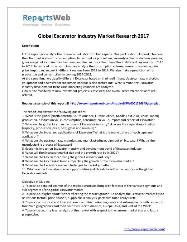 2017 Development of Excavator Market