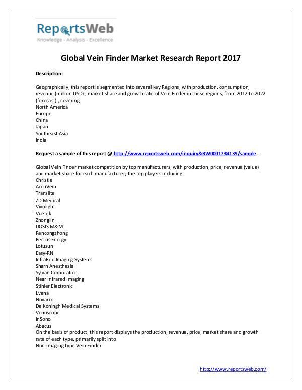2022 Forecast: Global Vein Finder Industry Study