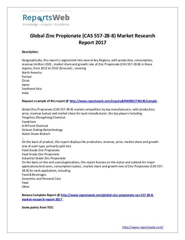 2017 Global Zinc Propionate (CAS 557-28-8) Market