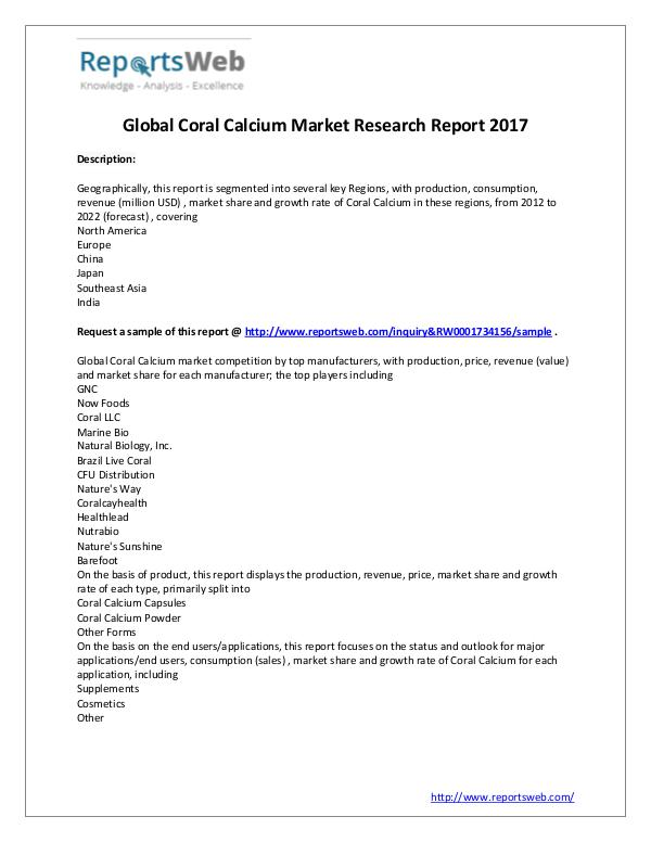 2022 Forecast: Global Coral Calcium Industry Study