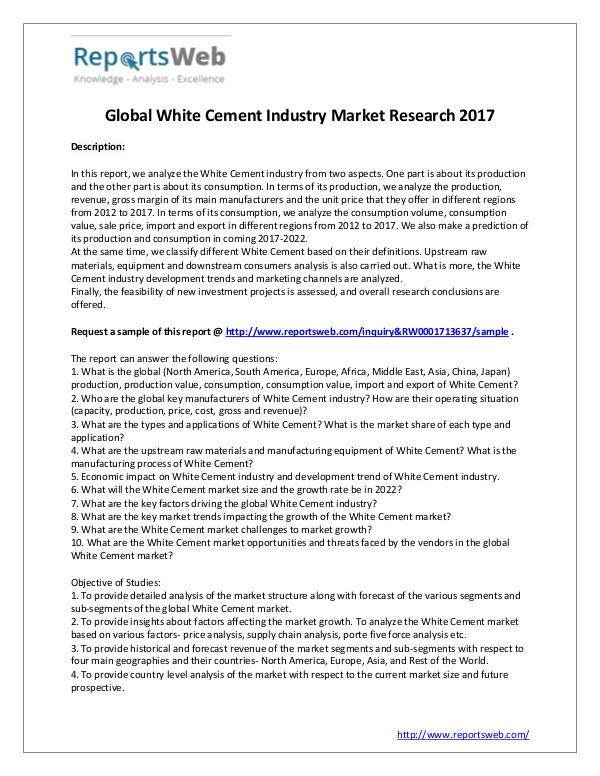 Global White Cement Industry Size and Share Study