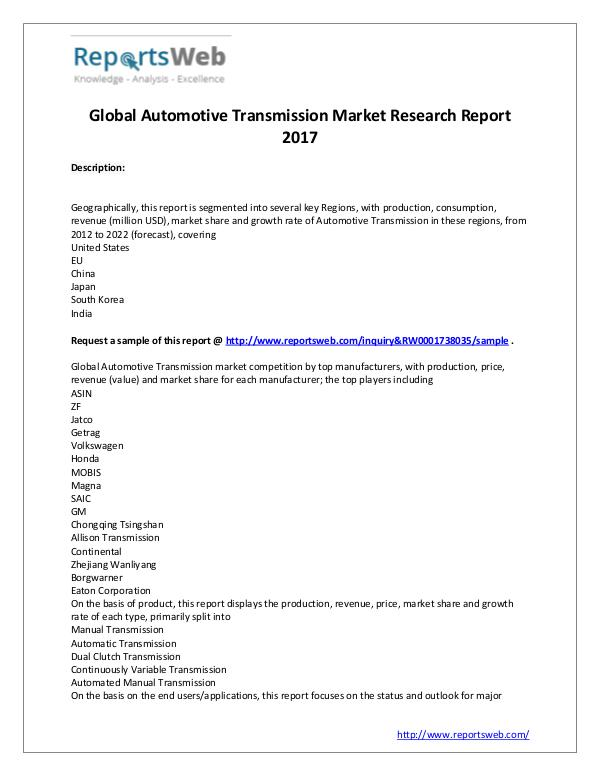 Market Analysis Global Automotive Transmission Industry