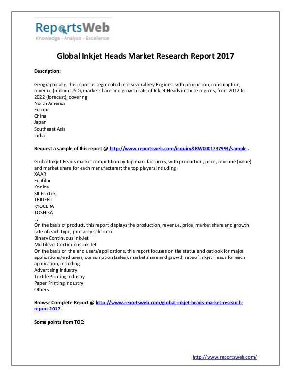 Market Analysis 2017 Study - Global Inkjet Heads Market