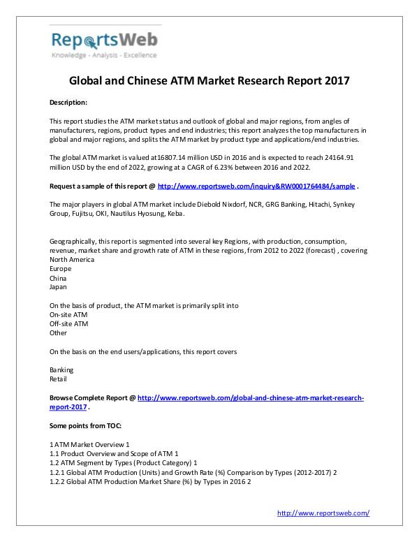 Market Analysis ATM Market Status – World and China Report 2017