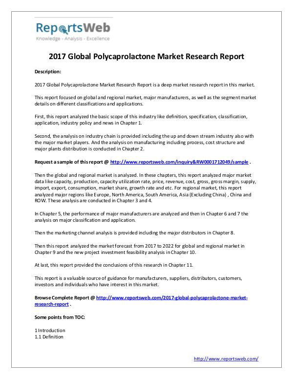 Market Analysis SWOT Analysis of Global Polycaprolactone Market