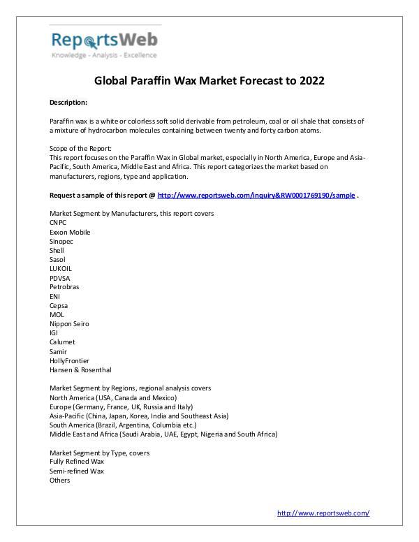 Market Analysis Paraffin Wax Market Sales, Revenue and Share Study