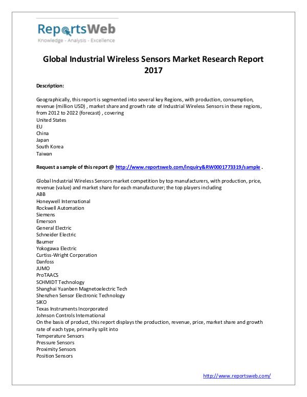 Market Analysis 2017 Global Industrial Wireless Sensors Market