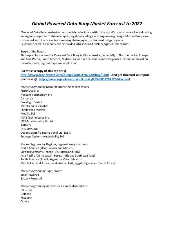 Market Analysis 2017-2022 Global Powered Data Buoy Market