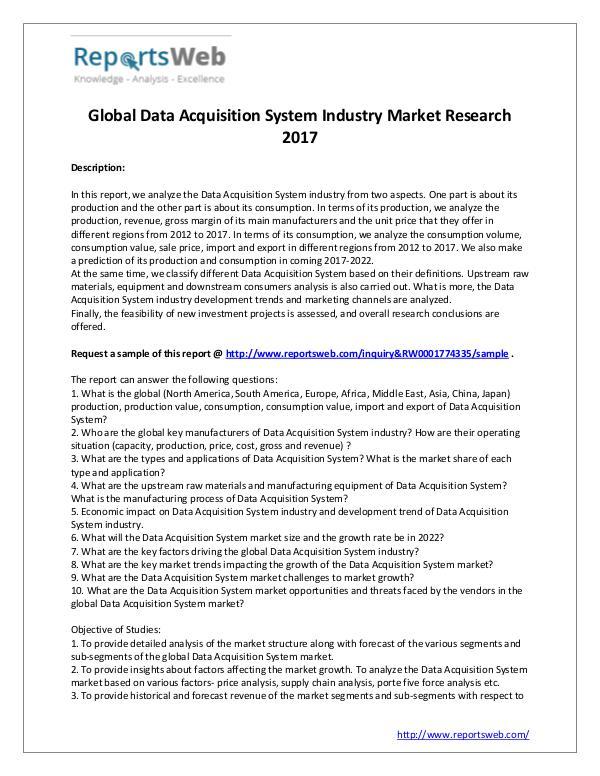 Market Analysis 2017 Study - Global Data Acquisition System Market