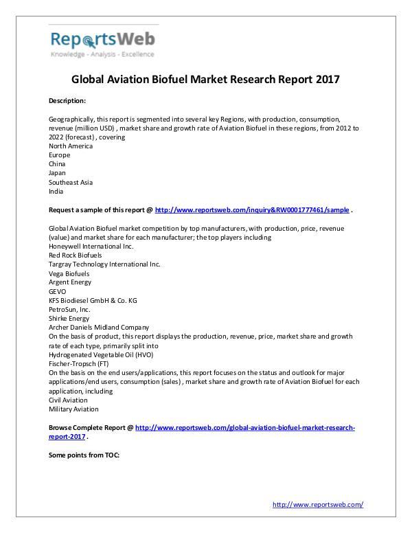 Market Analysis 2022 Forecast: Global Aviation Biofuel Industry St