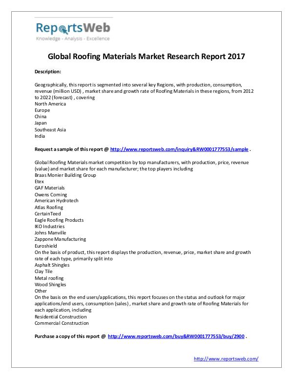 market analysis global market size of roofing materials industry