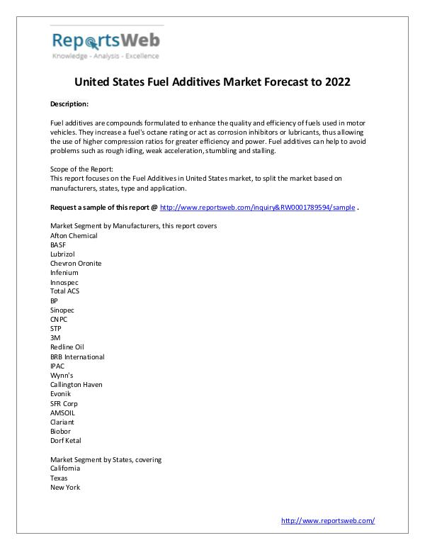 Market Analysis Fuel Additives Market Sales, Growth & Price