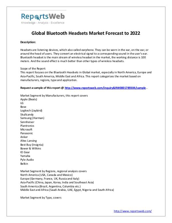 Market Analysis 2017 Global Bluetooth Headsets Market Research