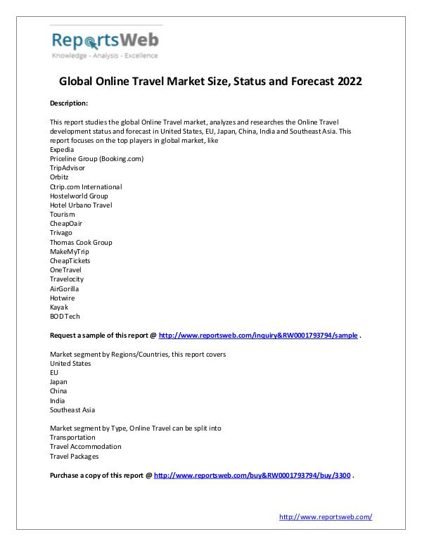 Market Analysis Swot Analysis Of Global Online Travel Market