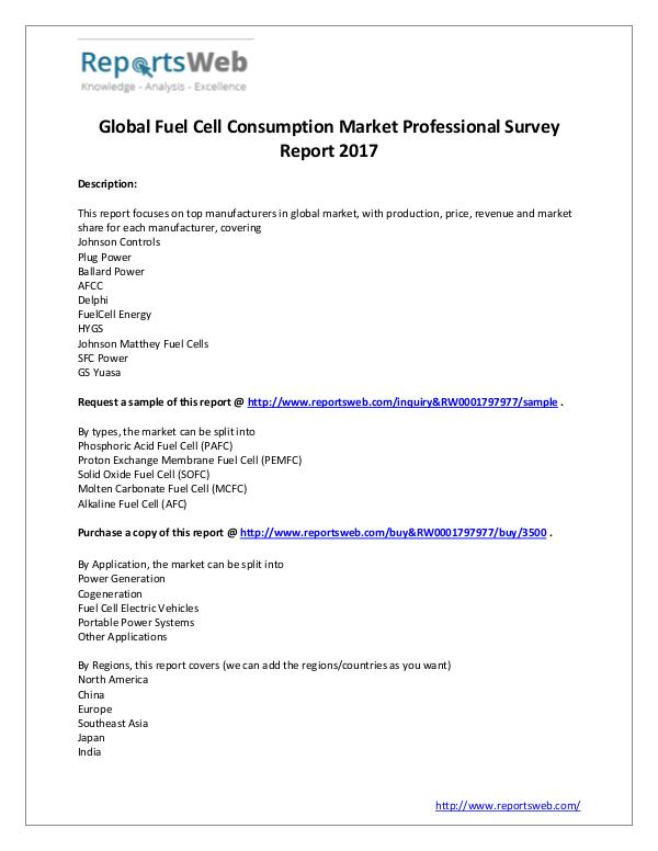 2017 Study - Global Fuel Cell Market Consumption
