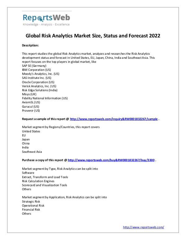 Market Analysis  Global Risk Analytics Market Size, Status and Fore