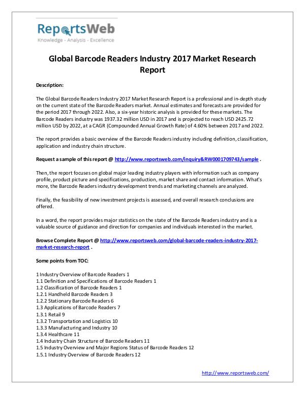 Market Analysis 2017 Study - Global Barcode Readers Market
