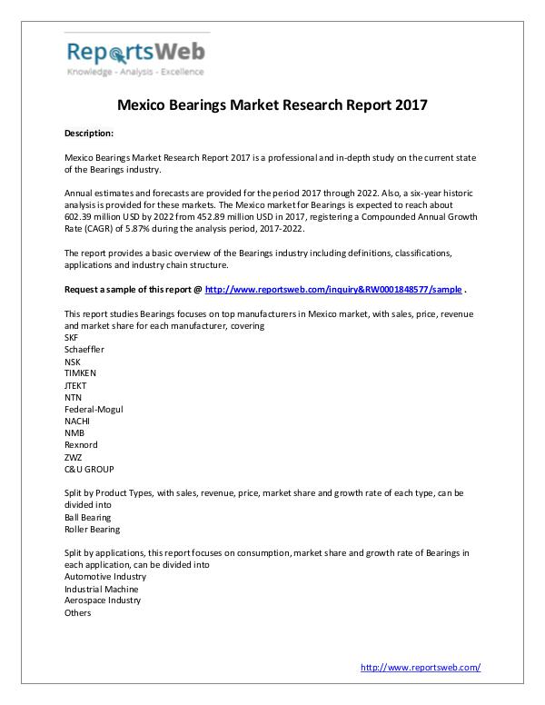 Market Analysis Bearings Market - BeariMexico Research Report 2017