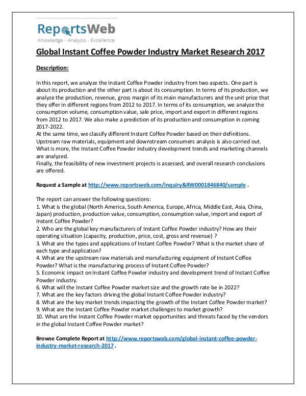 Market Analysis 2017 Instant Coffee Powder Industry