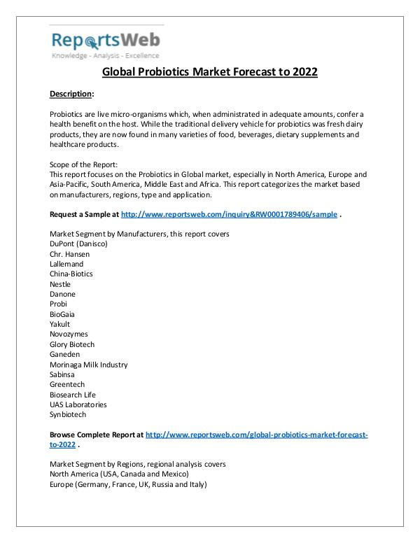 Probiotics Market Sales, Revenue and Share Study
