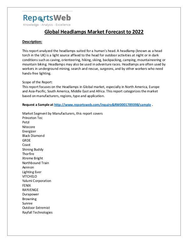 Market Analysis Market Overview of Global Headlamps Industry 2017