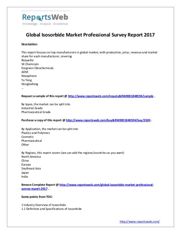 2017 Study - Global Isosorbide Market