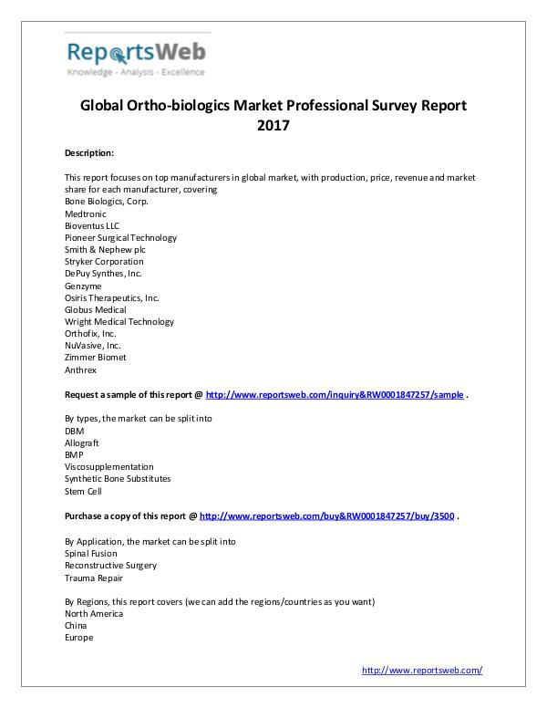 Market Analysis 2017 Analysis: Global Ortho-biologics Industry